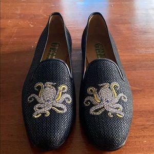 Stubbs & Wootton raffia printed loafers